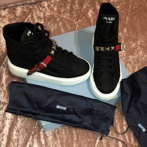 PRADA : Nylon sneakers with studded strap